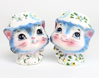 Vintage MINT Lefton Miss Priss Salt and Pepper Shakers, Miss Kitty Salt Pepper, Kitsch Shakers, 1950s Kitchen, Blue Cat Kitten Epsteam - 1