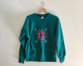 Vintage Avalon New Jersey Beach Sweatshirt // Green & Plaid Polo Horse Pullover // Hipster Jumper // 90s