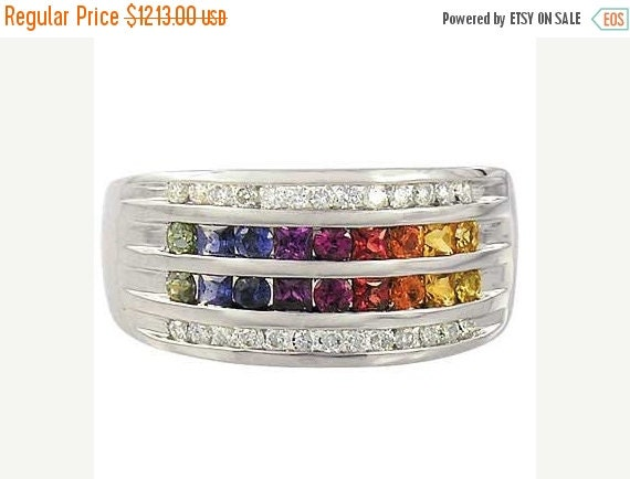 Valentines Day Sale Multicolor Rainbow Sapphire & Diamond Multi Shape Band Ring 14K White Gold (1.35ct tw): sku 1523-white-14K