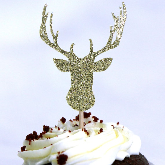 Deer Cupcake Toppers - Gold Glitter - Rustic Wedding Decor. Christmas Cupcake Toppers. Holiday Baking Decor. Reindeer. Woodland Party Decor.