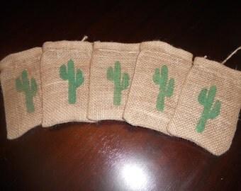 Set of 10.......CACTUS BURLAP Gift Favor Bags