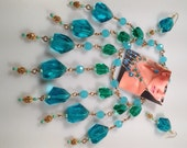 IBA Runway Necklace Oversized FRINGED Necklace Faceted Turquoise and Emerald Green Glass Stones Matching PIERCEDEarrings