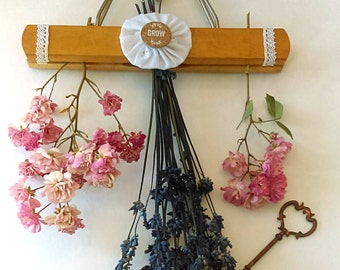 Repurposed Hanging Herb or Flower Drying Rack: Herbs, Dried Flowers, Garden Decor