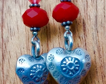 Sterling Silver heart etched heart earrings with beautiful red rondelles.