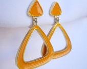 Vendome Hoop Earrings Modernist Dangling Triangles Orange Enamel Gold Metal Vintage Clip On Screw Back Combo Retro Mod Flower Power Groovy