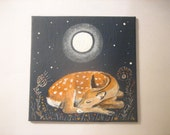 SALE: Hand painted Deer fawn art canvas panel.