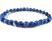 Blue Kyanite Stretch Bracelet 6mm Smooth Polished Round High Vibration AAA Quality Natural Genuine Untreated Gemstone Bead