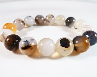 Dendritic Agate Stretch Bracelet Round 12mm Smooth Polished Gemstone Beads