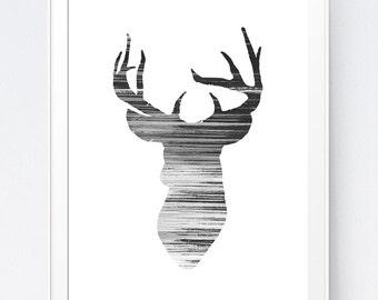 Deer Wall Art, Deer Printable, Deer Head Print, Black and White Deer Print, Black White Deer Wall Art, Deer Home Decor, INSTANT DOWNLOAD