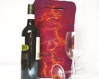 Felt Wine Tote Burgundy Purple and Rust OOAK