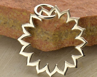 Sterling Silver Throat Chakra Lotus Frame Charm