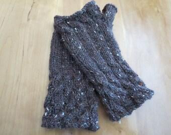 Hand knit ladies gray tweed 100% wool fingerless gloves