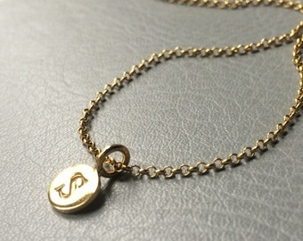 A-Z Initial Letter Charm Tag to go with the Belcher Chain necklace, 24 Karat over silver. Personalise Custom Gift Present