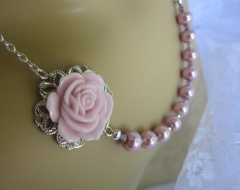 Rose Pink Bridesmaid Necklace Rose Necklace Spring Wedding Bridal Party