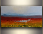 "Oil Painting landscape Fall Oil Painting Original Oil Painting Abstract Oil Painting on Canvas ORIGINAL Art 15""x30"" by Tatjana Ruzin"