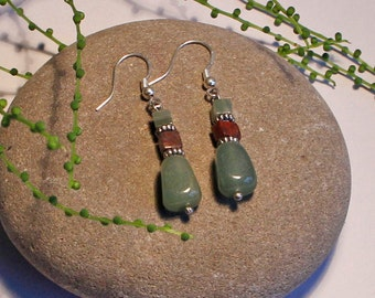 Green Aventurine Silver Earrings Free Worldwide Shipping