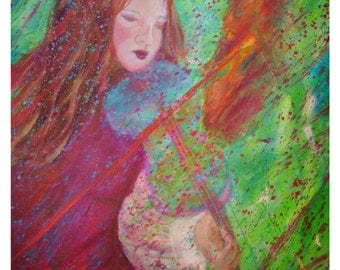 Girl Playing Violin-8 x 10 Original Art Print-Girl On Fire- Fire- Irish Girl Violinist-Musical-Home Decor-Girl's Bedroom decor- Green-Red-