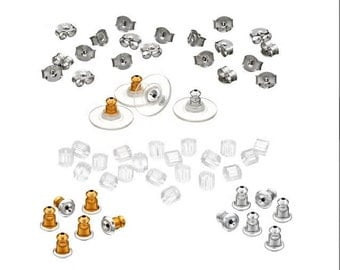 60+ Piece Earring Back Assortment Replacement Backs Findings Great Gift Never Be Without a Back Again Jewelry Supplies