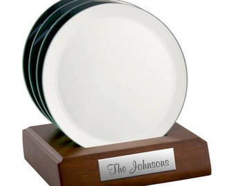 Engraved Mirrored Glass Coasters - Set of 4