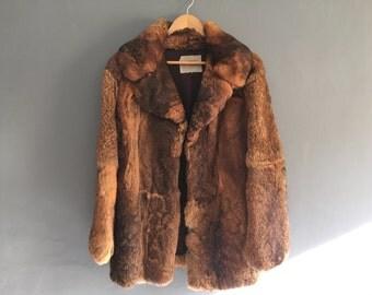 70s Vintage Red Silky Soft Fur Coat Medium