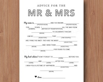 Mad Libs Wedding Card for Guests - Wedding Advice Words of Wisdom - Printable DIY