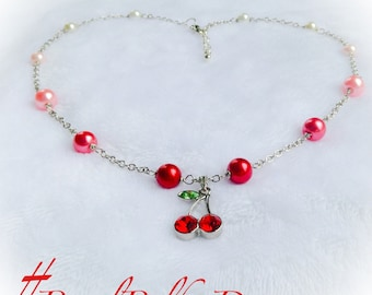 Cherry Pendant Ombre Pearl Necklace Statement Jewelry