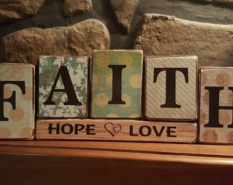 FAITH, Hope, Love Wooden Block Set
