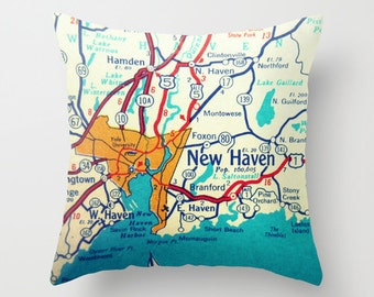 Connecticut Pillow Cover 18x18, Connecticut Gift, Vintage Connecticut Map, Custom Map Pillow, Any City CT, New London, CT Home, Map Pillow