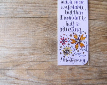 """Anne of green gables light purple bookmark with quote in handwritten calligraphy. """"If I was just the one Anne..."""""""