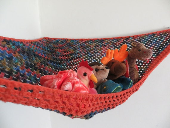 Large Crochet Toy Net Hammock In Browns Blues And Oranges