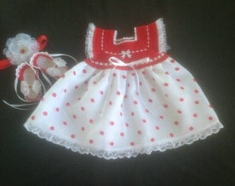 Baby Girl  Dress Set - Red Polka Dots and White