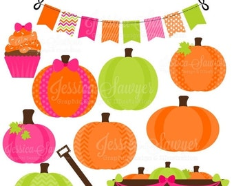 80% OFF - INSTANT DOWNLOAD, girls pumpkin patch party clipart, for scrapbooking, cards, invites,  announcements