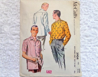 Vintage McCall's 3904 Men's Sports Shirt Pattern Size Large 16 - 16 1/2