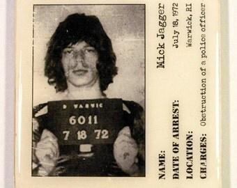 Mick Jagger Mugshot (1972) Coaster