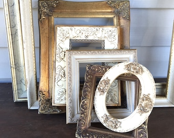 Vintage Antique White & Gold Empty Wall Frame Gallery - Open Wall Frames - Set of 7 - Hollywood Regency