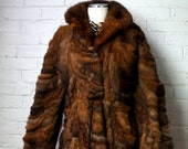 SALE Bohemian Fur Jacket 1960s Vintage Possum Fur Coat X SMALL Small Gold Brown Beige Black Patched Tie Waist Boho Hippie Chic Gypsy Fall Wi