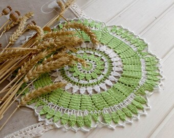 SALE 10% OFF: Green crochet doily Lace doily Handmade cotton lace doilies Spring decor White and green Living room decor 293