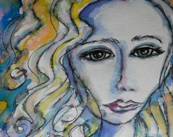 """FREE SHIPPING watercolor and ink painting, NOT a print, """"Deep in Thought"""""""