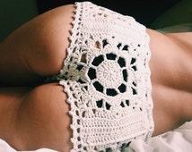 Stevie Beach Cover-Up Shorties. Hand Crocheted Cotton Bohemian Beachwear. Cheeky! More Colors.