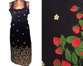 """1980s Blue Strawberry Print Sundress // 80s Navy Blue Empire Waist Dress // Size 32"""" waist"""