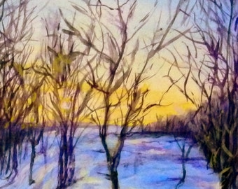 "Fine Art 5 X 7 Print of my Original Painting ""Winter Sunset Shadows"""