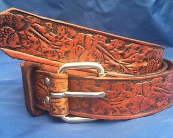 Natural Veg Tan Acorn Embossed Leather Belt Handmade Choice of Colours & Buckles Valencia Leather