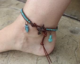 Owl Hummingbird Turquoise Blue Bohemian Leather Anklet Leather Jewelry Owl Jewelry Hummingbird Jewelry Summer Anklet
