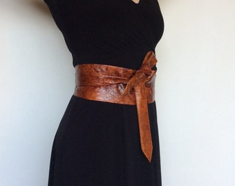 Unique Wrap Brown Leather Obi Belt - Wide Women Belts - Tie Urban Belts - Wraparounds Sash Belts