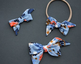 """The """"Mae"""" bow in RifleCo Birch Floral  headband or clip"""
