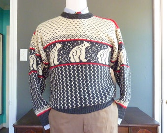 "BEAUTIFUL Vintage Skjaeveland POLAR BEARS ""Telemark Style"" Norwegian Ski Sweater Size Medium. Made in Norway."