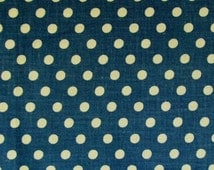 """Mid 1800's Cotton Dark Royal Blue with White 1/4"""" Dots; Calico Type with a Slightly Stiff Finish"""