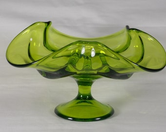 1969 Viking Glass Epic Drape Footed Candle Holder in Avocado Green #6949, A Drapery Taper Candle Bowl, Made in USA, Scarce, Hard to Find - F