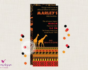 African Safari Invitation Suite //  Personalized // Printable // Thank You Cards // Address Labels // Graduation // Retirement