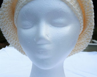 Crochet Slouchy Hat-Off White